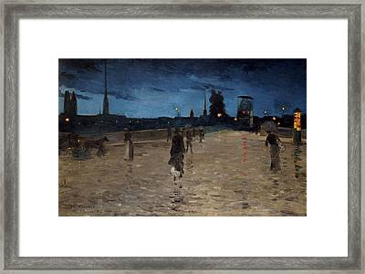 Le Pont De Pierre Framed Print by Charles Angrand