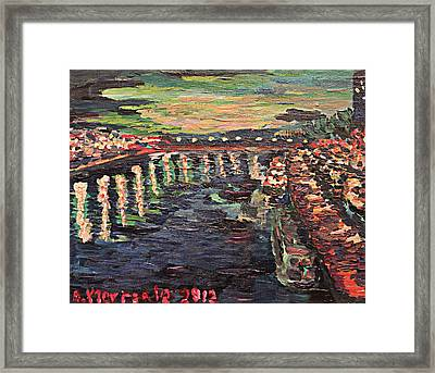 Framed Print featuring the painting Le Seine De Nuit by Denny Morreale