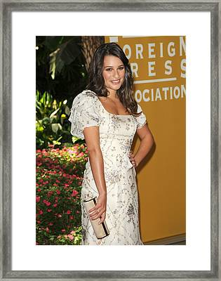 Lea Michele Wearing A Valentino Resort Framed Print by Everett