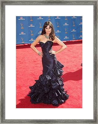 Lea Michele Wearing An Oscar De La Framed Print by Everett