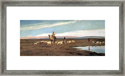 Leading The Flock To Pasture Framed Print