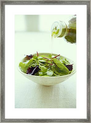 Leaf Salad With Olive Oil Framed Print by David Munns