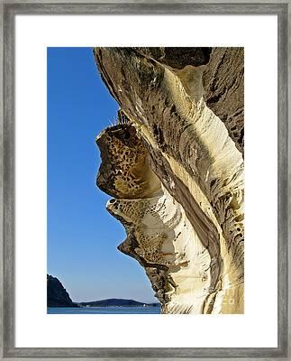 Leaning Rock Framed Print by Kaye Menner