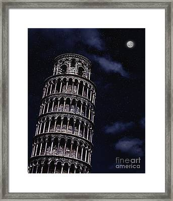 Leaning Tower Of Pisa At Night Framed Print