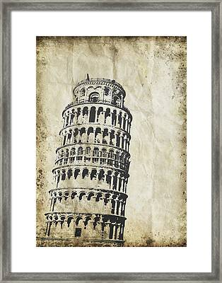 Leaning Tower Of Pisa On Old Paper Framed Print by Setsiri Silapasuwanchai