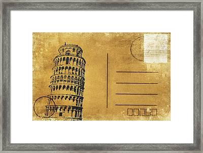 Leaning Tower Of Pisa Postcard Framed Print by Setsiri Silapasuwanchai