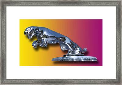 Leaping Jaguar Mascot Framed Print by Jack Pumphrey