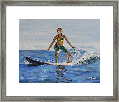 Learning To Surf Framed Print by Donna Muller