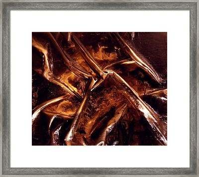 Leather And Gold 2 Framed Print by Angela Stout