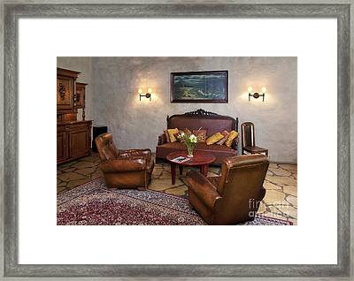 Leather Seating At Pädaste Manor Framed Print