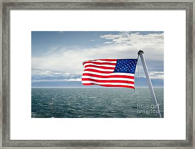 Leaving The Olympics Stars And Stripes On The Straits From The Olympic Mountains Framed Print by Andy Smy