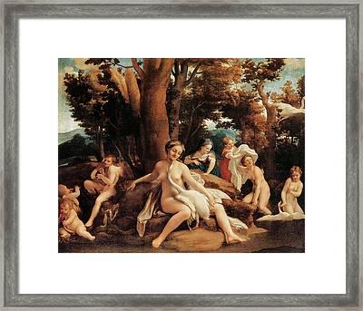 Leda With The Swan  Framed Print by Correggio