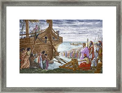 Legend Of Archimedes And The Lever Framed Print