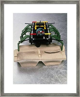 Lego Robot Spider Climbing Over A Box Framed Print
