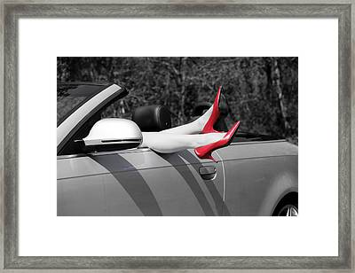 Legs In A Convertible Framed Print by Joana Kruse