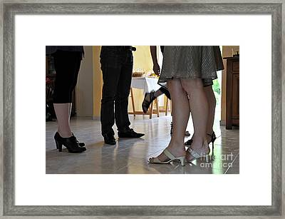Legs People Talking Together Framed Print by Sami Sarkis