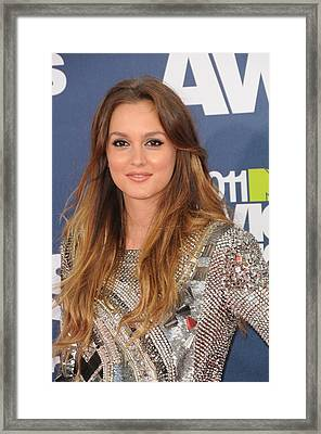Leighton Meester Wearing A Balmain Framed Print by Everett
