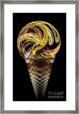 Lemon Ice Cream Cone Framed Print by Andee Design