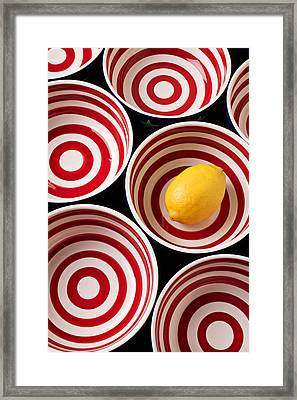 Lemon In Red And White Bowl  Framed Print by Garry Gay