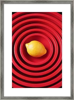 Lemon In Red Bowls Framed Print