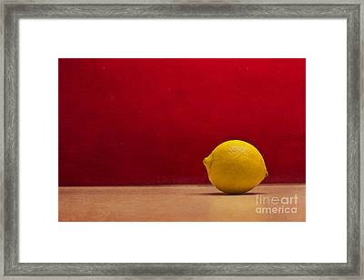 Lemon Yellow And Tomatoe Red Framed Print by Catherine MacBride