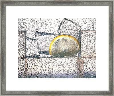 Lemonade: Carbonated Water Drink With Ice & Lemon Framed Print by Phil Jude