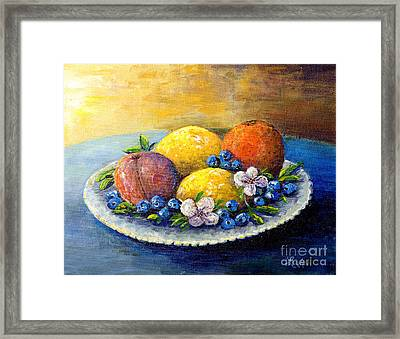 Framed Print featuring the painting Lemons And Blueberries by Lou Ann Bagnall