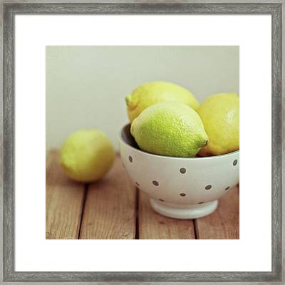 Lemons In Bowl Framed Print by Copyright Anna Nemoy(Xaomena)