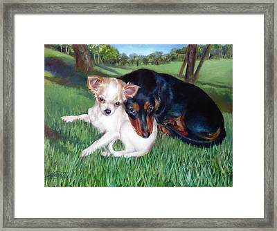 Framed Print featuring the painting Lena And Peanut by Nancy Tilles