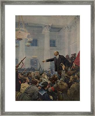 Lenin 1870-1924 Declaring Power Framed Print