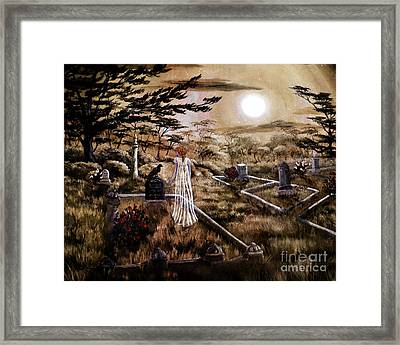 Lenore With Red Roses Framed Print