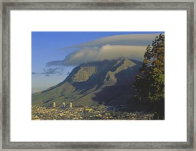 Lenticular Cloud Over Table Mountain Framed Print by Gordon Wiltsie