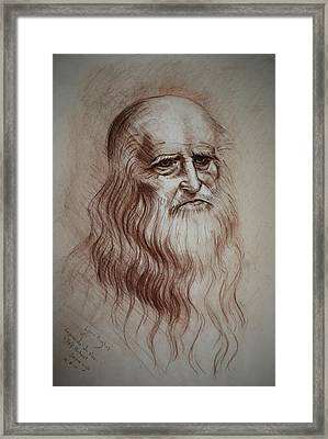 Framed Print featuring the drawing Leonardo Da Vinci Study by Lynn Hughes
