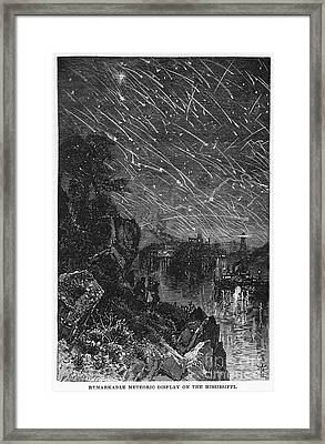 Leonid Meteor Shower, 1833 Framed Print