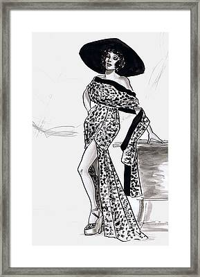 Leopard Beach Outfit Framed Print