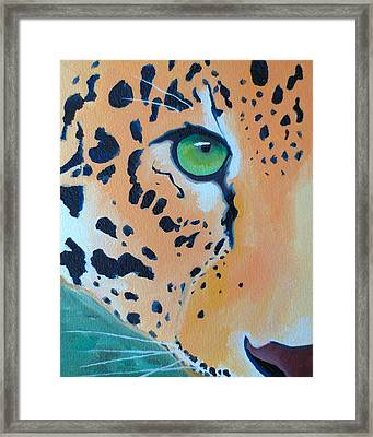 Leopard Eye Framed Print by John  Sweeney