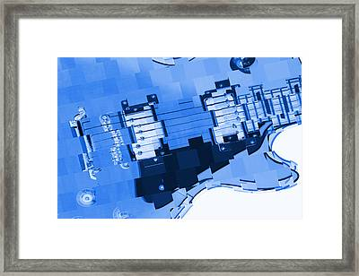 Abstract Guitar In Blue 2 Framed Print