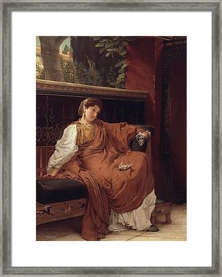 Lesbia Weeping Over A Sparrow Framed Print by Sir Lawrence Alma-Tadema