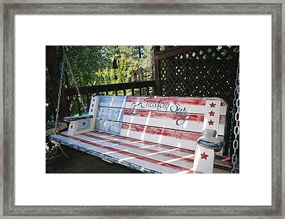 Let Freedom Swing Swinging Bench Framed Print by Gina Martin