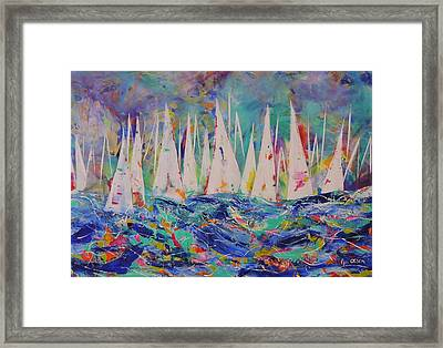Framed Print featuring the painting Let The Race Begin by Lyn Olsen