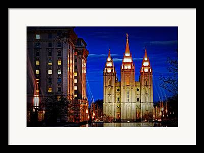 Salt Lake Temple Flowers Light Trails Heavenly Light Framed Prints