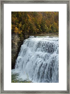 Framed Print featuring the photograph Letchworth Middle Falls by Darleen Stry
