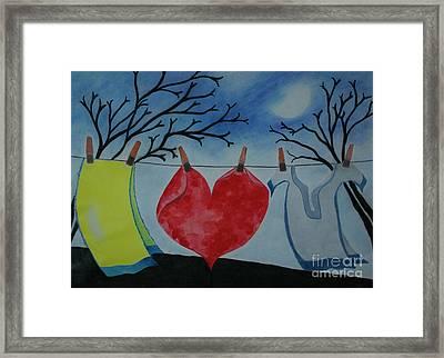 Lets Wash Heart Framed Print by Jalal Gilani