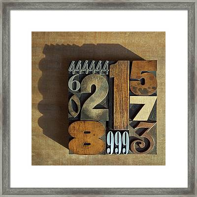 Letterpress Numbers Framed Print by Daryl Benson