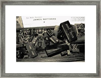 Letters Framed Print by Christina Young