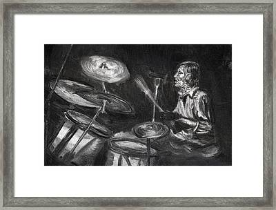Framed Print featuring the drawing Levon Helm In Charcoal by Denny Morreale