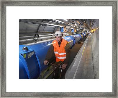 Lhc Tunnel, Cern Framed Print by David Parker