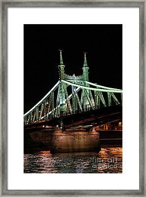 Liberty Bridge At Night Framed Print by Mariola Bitner