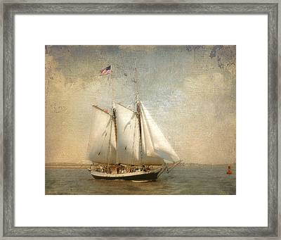 Liberty Clipper On Boston Harbor Framed Print