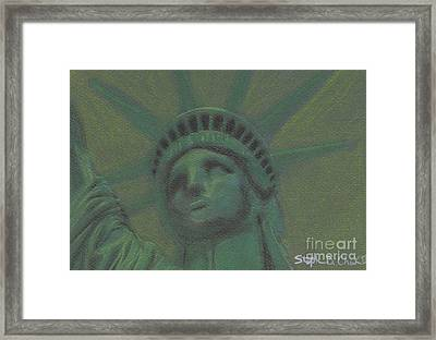 Liberty In Green Framed Print by Stephen Cheek II